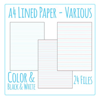 Lined Writing Paper Clip Art Pack for Commercial Use