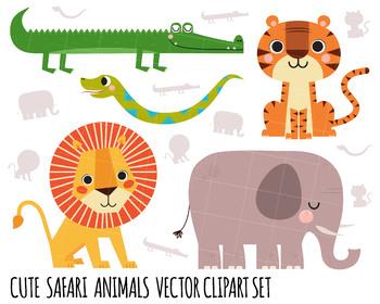 Clipart Lion, Elephant Clipart, Safari clipart, snake clipart, Crocodile clipart