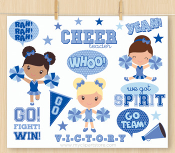 Clipart - Little Blue Cheerleaders