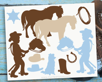 Clipart - Little Cowboy Silhouettes / Wild West / Western