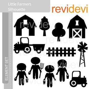 Clipart Little Farmers Silhouette E040 (barnyard, trucks, kids) clip art