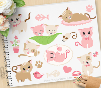 Clipart - Little Kitty Cat (Pink) / Pets