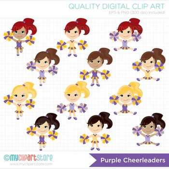 Clipart - Little Purple & Gold Cheerleaders