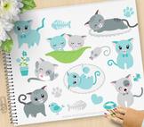 Clipart - Little Blue Tom Cat, pet store