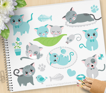 Clipart - Little Tom Cat (Blue) / Pets