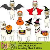 Clipart Llama in Halloween Costumes, Alpaca clip art