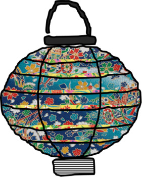 Japanese Lanterns (Clipart, Print PP for Decoration, Black & White for Coloring)