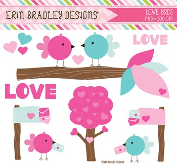 Clipart - Love Birds and Mail