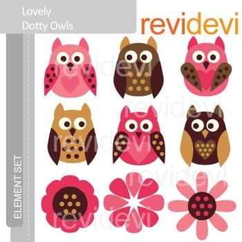 Valentine clip art: owls in pink brown
