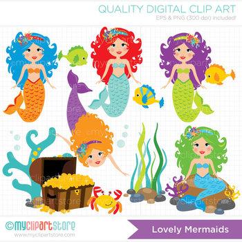 Clipart - Lovely Mermaids / Princess