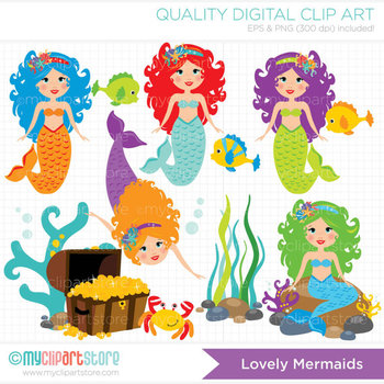 Clipart - Lovely Mermaids / Princess