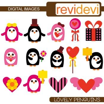 Valentine clipart: Clip art Lovely Penguins
