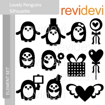 Clipart Lovely Penguins SIlhouette E040 (valentine clip art)