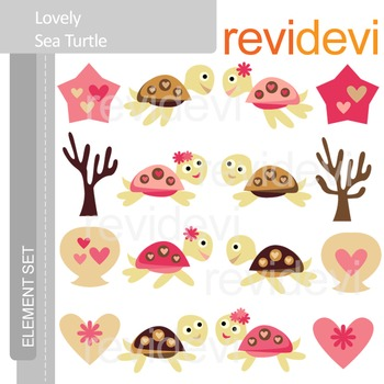 Clipart Lovely Sea Turtle E046 (seaturtle, pink, brown) clip art