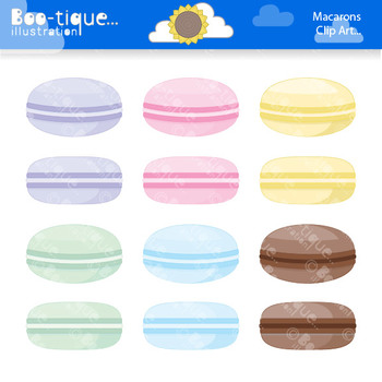 Clipart: Macarons Digital Clipart Set. Macaroons Clipart. Cakes Clip Art.