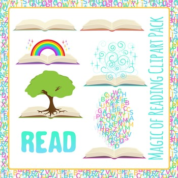 Books! Magic of Reading - Coming Out of Books Clip Art Pack for Commercial Use