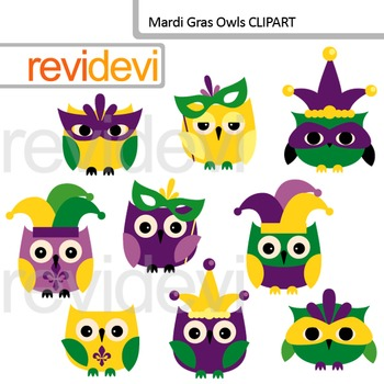 Clipart Mardi Gras / Mardi Gras Owls digital clip art