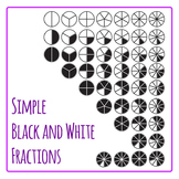 Fractions Simple Lineart Clip Art Pack for Commercial Use