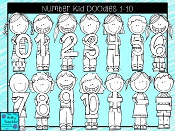 Clipart- Math Number Kid Doodles 1-10