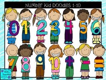 Clipart- Math Number Kid Doodles 1-10
