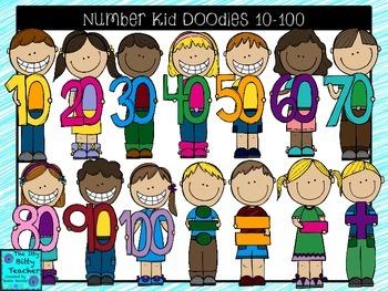 Clipart- Math Number Kid Doodles 10-100