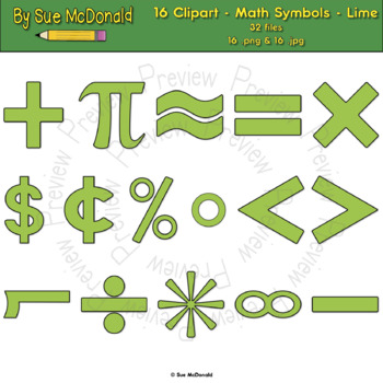 Clipart - Math Symbols - Lime - 16 High Quality Vector Graphics