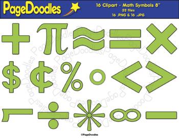 Clipart, Math Symbols, Lime, for TPT Sellers - High Quality Vector Graphics