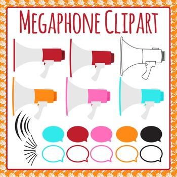 Megaphone or Loud Speaker Clip Art Pack for Commercial Use