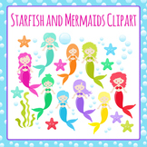 Mermaids and Their Pet Sea Stars Commercial Use Clip Art Pack