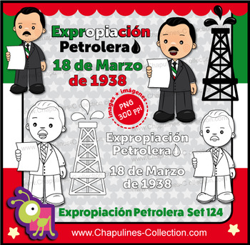 Expropiación Petrolera en México / Clipart Mexican Oil Expropriation Set 124
