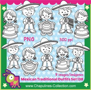 Clipart Mexican Outfits China Poblana and Charro, black & white, Mexico Set 138