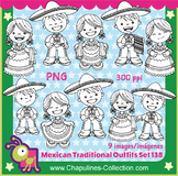 Clipart Mexican Outfits China Poblana and Charro, black &