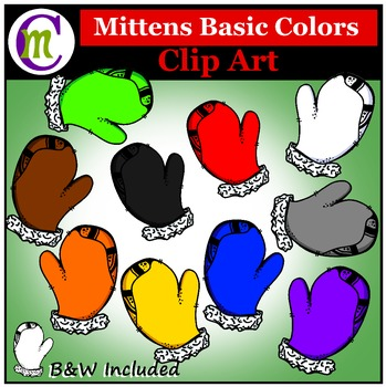 Mittens Clip Art Basic Colors
