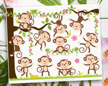 Clipart - Monkey Girls