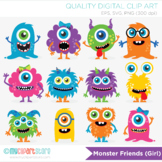 Clipart - Monster Friends in bright colors