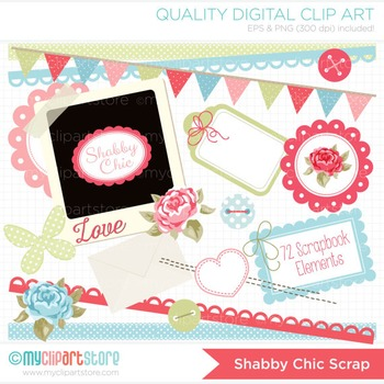 Clipart - Mother's Day / Shabby Chic Scrapbook Elements / Roses