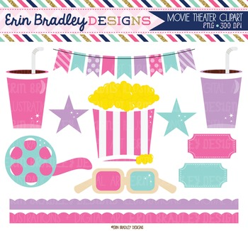Clipart - Movie Theater Pink & Purple