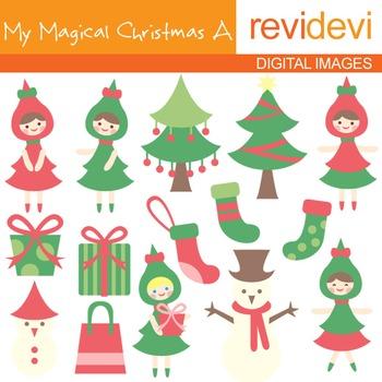 Clipart My Magical Christmas A (trees, girls) clip art 08026