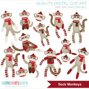 Clipart - My Sock Monkey (Red)