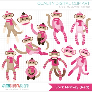 Clipart - My Sock Monkey (Pink)