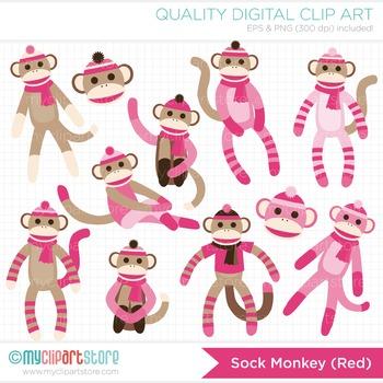 Clipart - My Sock Monkey (Pink)