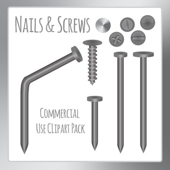 Nails and Screws - Building Things Clip Art Pack for Commercial Use