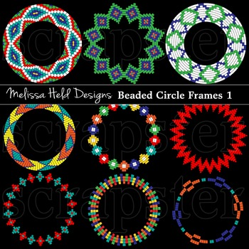 Clipart: Native American Beaded  Frames Clip Art 1