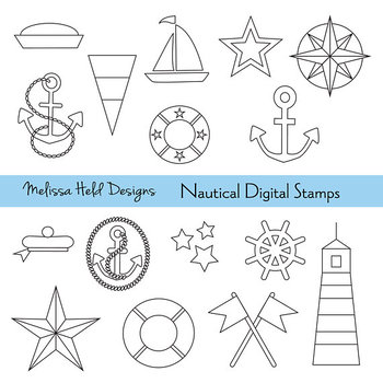 Clipart: Nautical Color Your Own Clipart