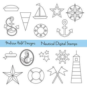 1a8af7f59 Nautical Outline Digital Stamps Clipart