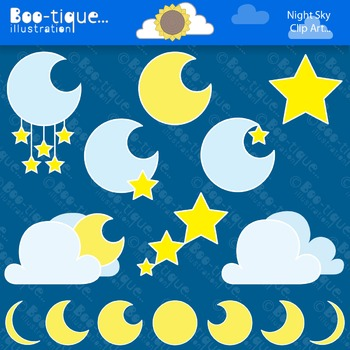 Clipart- Night Sky Clipart. Moon and Stars Clipart. Moons Clipart. Stars Clipart