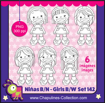 Clipart Niñas blanco y negro, Girls black and white, PNG, set 142