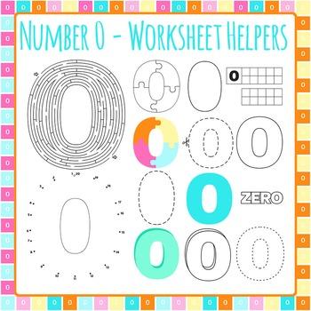 Number 0 Worksheet Helper Clip Art Set for Commercial Use