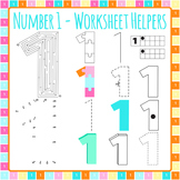Number 1 Worksheet Helper Clip Art Set for Commercial Use