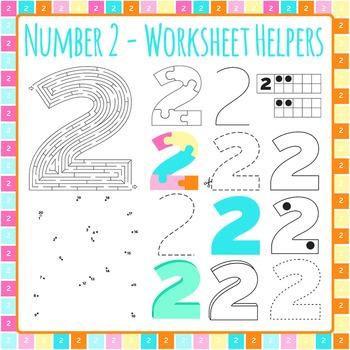 Number 2 Worksheet Helper Clip Art Set for Commercial Use